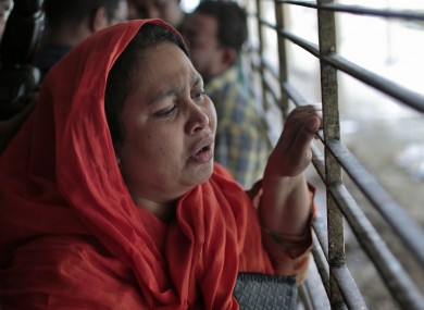 Shilpi, a cousin of Washiqur Rahman, outside the morgue at Dhaka Medical College.