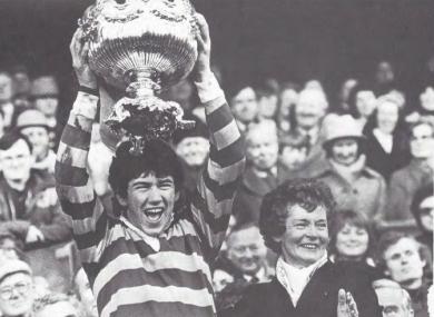 De La Salle Churchtown captain Michael McArdle lifts the senior cup in 1983.