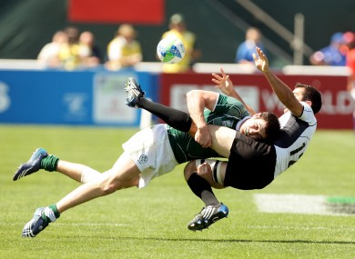 Felix Jones makes a crunching hit for Ireland at the 2009 Sevens World Cup.