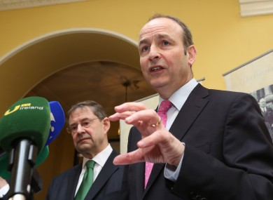 Éamon Ó Cuív and Micheál Martin at today's launch in Dublin.
