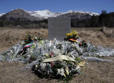 A memorial laid in memory of the victims of the Germanwings jetliner crash