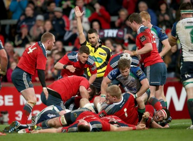 Duncan Casey celebrates Munster's second try.