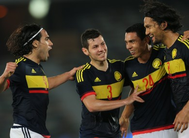 Falcao with team-mates Franco Pedro, Daniel Bocanegra and Abel Aguilar.