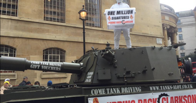 """Clarkson """"very touched"""" after one-million-signature petition delivered to BBC"""