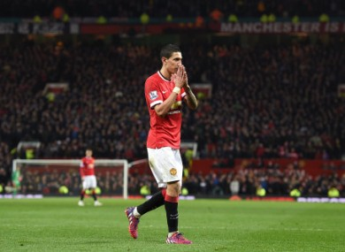 Di Maria is unavailable for United this weekend after his sending off against Arsenal on Monday.
