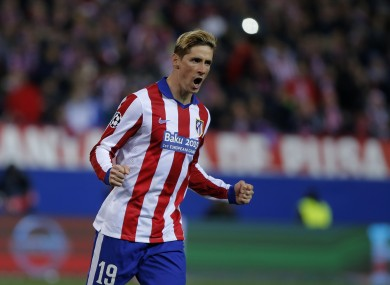 Atletico's Fernando Torres reacts after scoring a penalty during the Champions League round of sixteen second leg match.