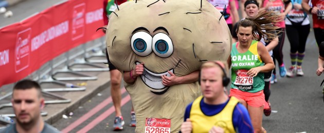 A runner dressed as a pair of testicles a the London Marathon today.