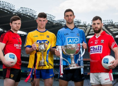 Donal O'Hare, Neil Collins, James McCarthy and Colm O'Driscoll at today's Allianz football league finals launch.