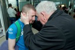 After booking his place at next year's Olympics over the weekend, Paddy Barnes is greeted at Dublin Airpot by IABA president Tommy Murphy.