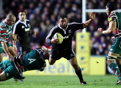 Afeaki playing for the Maori All Blacks against Leicester in 2012.