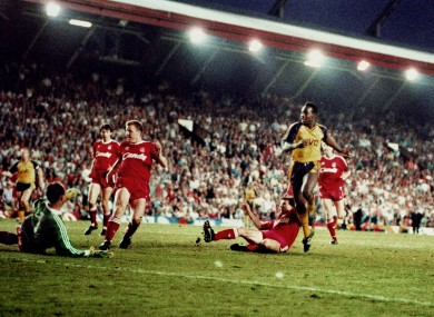 Michael Thomas, Arsenal, scores the second goal against Liverpool.