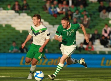 Robbie Keane and Northern Ireland's Lee Hodson when the teams last played in 2011.