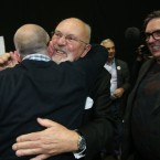 A happy Senator David Norris arrives at the Same Sex Marriage Referdendum at the count centre in RDS.<span class=