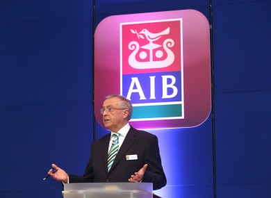 Chairman of AIB Richard Pym speaking at the AIB Annual General Meeting late last month.