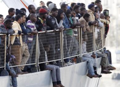 Migrants waiting to disembark in Italy last week.