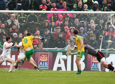 Martin McElhinney fires home a goal for Donegal against Tyrone.