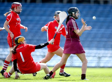 Niamh McGrath grabs Galway's first goal of the game.