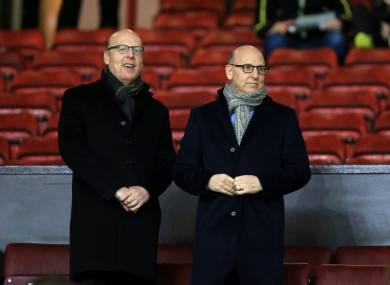 Manchester United joint chairmen Joel Glazer (right) and Avram Glazer (left) pictured earlier this year.