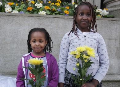 Stephanie Nganga (5) and Tatiana Nganga (8) taking part at a Direct Provision protest last month.