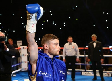 Carl Frampton enters the ring during his fight in Belfast last February.