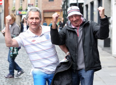 England fans Geoff York and Bob Dockerson in high spirits before today's game