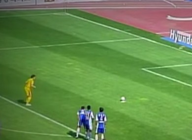 The keeper gave the penalty spot a makeover.
