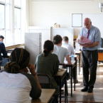 Pictured Examiner Dermot Sheehan hands out the English Paper one to students at O Connoll Secondry School in Dublin.<span class=