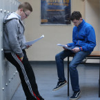 Pictured Patrick Barker from Kildare and David Stack from Navan do some last minute revision at O'Connell's Secondry School in Dublin <span class=