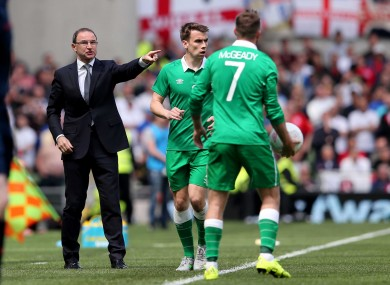 Martin O'Neill shouts instructions from the sideline.