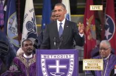 Barack Obama delivers rousing eulogy for those killed in hate crime