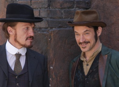 Actors Jerome Flynn and Adam Rothenberg on the set of the drama