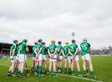 The Limerick hurlers lining up before they face Clare.