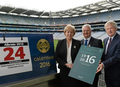 Minister Heather Humphreys, T.D,  President of the GAA Aogán Ó Fearghail, centre and Director General Páraic Duffy.