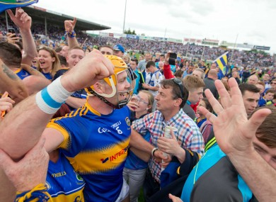 Pádraic Maher celebrates with Tipp fans yesterday.