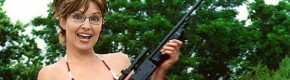 A doctored photo of Sarah Palin, falsely showing her in a bikini with a gun.