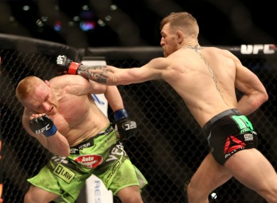 Conor McGregor in action against Dennis Siver in January.