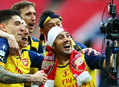 Arsenal celebrating FA Cup win