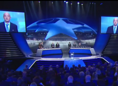 Uefa general secretary Gianni Infantino during today's draw.