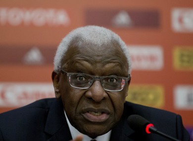 President of the International Association of Athletics Federations Lamine Diack speaks during a press conference.