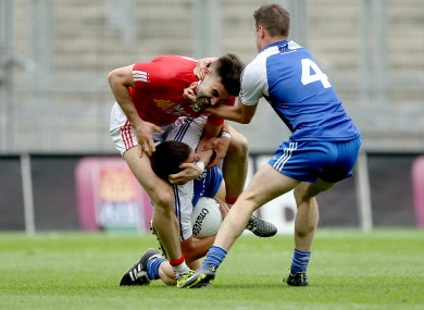 Monaghan's Drew Wylie and Ryan Wylie clash with Tiernan McCann of Tyrone