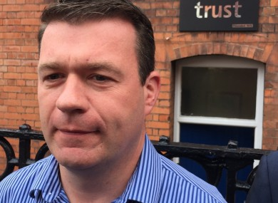 Alan Kelly outside the Trust Homeless Service in Dublin this morning