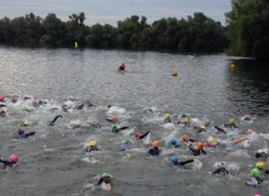 Saturday's triathlon began with a 750m swim.