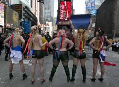Members of feminist group FEMEN at a anti-Putin protest last year