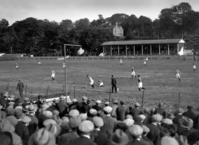 Cork Bohemians playing at the greyhound track that used to be behind Pairc Ui Chaoimh in 1932.