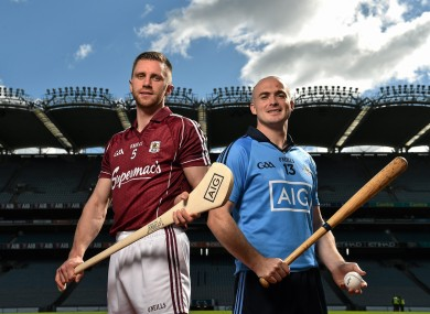 Galway's Aidan Harte and Dublin's David O'Callaghan at today's launch in Croke Park.