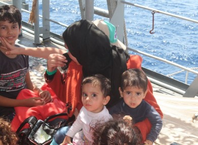 A family on board the LÉ Niamh last month.