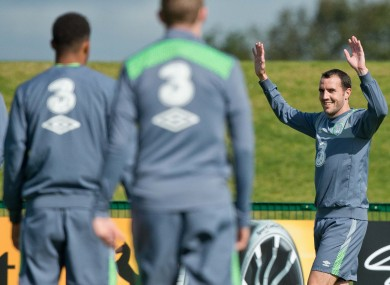 O'Shea training with the Republic of Ireland team at Abbotstown earlier this month.
