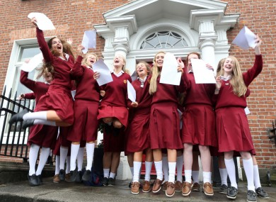 Students from Loreto College, St Stephen's Green in Dublin celebrate their Junior Cert results in 2013