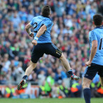 Kevin McManamon celebrates his goal late on against Mayo.<span class=