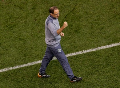 Ireland manager Martin O'Neill celebrates at the final whistle.